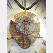 Mixed metal steampunk watchwork gear pendant