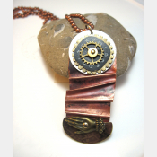 Fold form mixed metal forged funky steampunk pendant