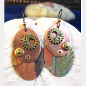 Steampunk mixed metal copper and recycled tin dangle earrings- Trashy Tinsel
