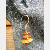 Recycled tin Asian inspired dangle earring with brass and copper