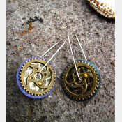 Steampunk gear tin earrings
