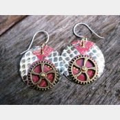 Recycled Tin Steampunk Dangle Gear Earrings