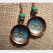 Recycled tin copper dangle earrings with turquoise bead